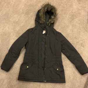 Gray winter jacket with hood